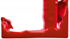 red paint fills up screen, isolated on white FULL HD with alpha matte - stock footage