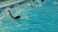 Female swimmers team train Stock Footage