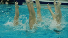 female synchronized swimmers team train - stock footage
