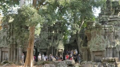 Tourist crown in Ta Prohm temple,Siem Reap,Cambodia Stock Footage