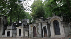 Tombs in Old Cemetary Pan Across - stock footage
