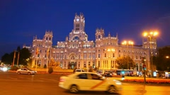 City Hall and Cibeles Palace in Madrid, Spain Stock Footage