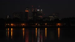 Canary Wharf before dawn Stock Footage