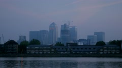Pre-dawn  time lapse of Canary Wharf Stock Footage