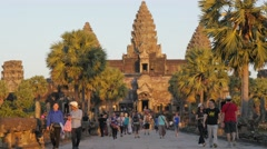 Tourists coming from Angkor Wat temple,Siem Reap,Cambodia - stock footage