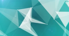 Close up low-poly white triangles on blue cyan background seamless VJ loop 15s 4 Stock Footage