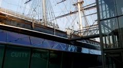 Tilt up the Cutty Sark in Greenwich. Stock Footage