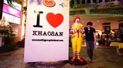McDonalds restaurant in Khao San road in BKK city in Thailand Stock Footage
