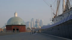 Cutty Sark with Canary Wharf in the background. Stock Footage
