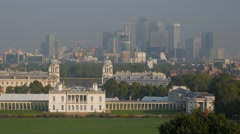 Classic view of Canary Wharf from Greenwich Park - stock footage