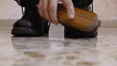 Feet shoes polish front Stock Footage