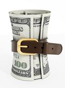 Tight belt around 100 dollar money bills Stock Illustration