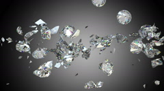 Diamonds or gems fall down and shatter slow motion. Alpha matte - stock footage