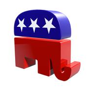 3D Republican Elephant isolated on a white background - stock illustration