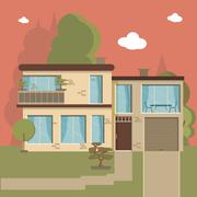Beautiful family house and apartment banners on the nature background - stock illustration