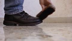 Feet shoes polish side Stock Footage