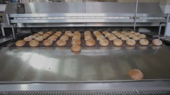 The bread on the conveyor oven. Bread bakery food factory - stock footage