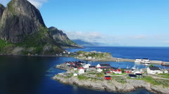 Scenic village Hamnoya on Lofoten islands in Norway. Stock Footage