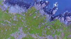 Midnight sun on arctic coast in Norway, aerial footage. Stock Footage