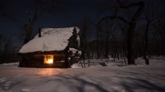 Stock Video Footage of Fabulous forest hut. Winter moon night