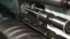 Industrial Offset Press Rollers Closeup Stock Footage
