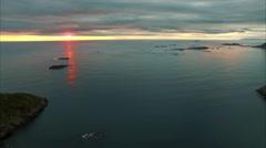 Midnight sun in arctic Norway, aerial footage. Stock Footage