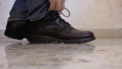 Feet shoes tie side Stock Footage