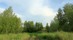 Movement of clouds over the meadow. Syropyatskoe village, Kormilovsky District,  Stock Footage