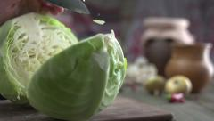 Finely shredded cabbage Stock Footage