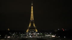 Eiffle Tower at Night Stock Footage