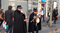 Bagpipers playing traditional songs on the streets of Naples Stock Footage