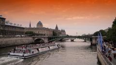 "Tourist Boat Passes ""the beach"", Seine River Paris Stock Footage"
