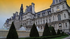 Paris Hotel de Ville Sunset Stock Footage
