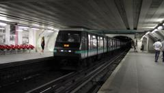Paris Metro Subway Arrives Stock Footage