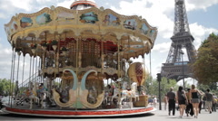 Merry Go Round and Eiffel Tower Stock Footage