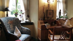 French Chateau Library Sitting Room Stock Footage