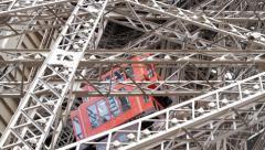 Eiffel Tower Elevator Outside Leg Stock Footage