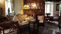 French Chateau Library Sitting Room - stock footage