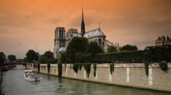 Notre Dame Cathedral South River View Sunset Stock Footage