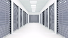 Bright corridor full of storage units. Stock Footage