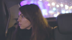 Pensive girl in the car Stock Footage