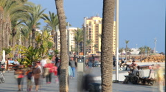 Tourists walking along the promenade of Torrevieja, Spain. Timelapse Stock Footage