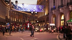 Regent Street and Piccadilly Circus people crossing the road, London, England Stock Footage