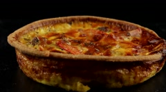 Quiche (pie) Lorraine with meat and tomatoes Stock Footage