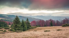 Colorful autumn sunset in the Carpathian mountains Stock Footage