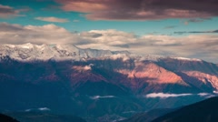 Flowing clouds in autumn morning in the Caucasus mountains - stock footage