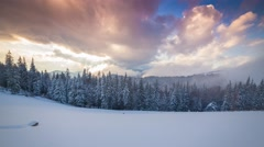 Colorful winter sunset in the Carpathian mountains Stock Footage