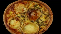 Quiche (pie) with goat cheese Stock Footage
