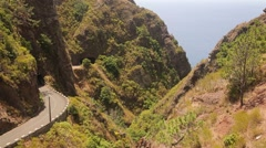 Landscape with a twisting road on Madeira Stock Footage
