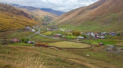 View from a bird's eye of Ushguli village - UNESCO World Heritage Site. Stock Footage